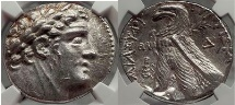 Ancient Coins - TYRE Shekel Biblical Greek Coin Jesus Betrayal Judas 30 Pieces of Silver NGC AU 5/5; 4/5.
