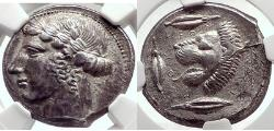 Ancient Coins - LEONTINI in SICILY 440BC  Silver Greek Tetradrachm NGC AU 5/5; 4/5