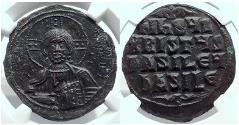 Ancient Coins - JESUS CHRIST Class A3  1020 AD Byzantine Follis Coin NGC MS