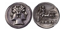 Ancient Coins - Quality Silver Quadrigatus QUADRIGATUS Coin JANUS CHARIOT 225 B.C. NGC EF