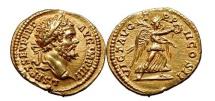 Ancient Coins - SEPTIMIUS SEVERUS 194 A.D. Gold Aureus Calico Plate coin. Victory. NGC Ch AU