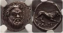 Ancient Coins - Pantikapaion, 370 BC. Silver Hemidrachm. Satyr facing. Lion. Very Rare. Superb.
