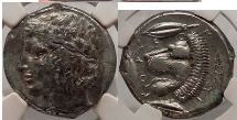 Ancient Coins - SICILY LEONTINI 450BC Silver Tetradrachm NGC Ch XF 4/5 4/5 Greek Coin SUPERB