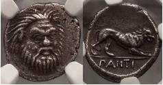 Ancient Coins - Pantikapaion, 370 BC. Silver Hemidrachm. Satyr facing. Lion. Very Rare. Superb.