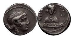Ancient Coins - M. PLAETORIUS M.f. CESTANIUS, Rome, 69 BC, Silver Denarius, SORS.