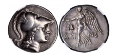 Ancient Coins - Side in Pamphylia 200 B.C.  Silver Tetradrachm Athena NGC EF