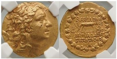 Ancient Coins - MITHRADATES VI, Gold Stater, 84 BC. Stunning! Splendid Hellenistic portrait! NGC AU Fine Style.