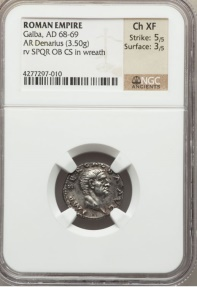 Ancient Coins - GALBA 68AD RARE Authentic Ancient Roman Silver NGC Certified Ch XF Coin