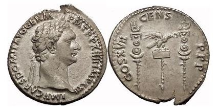 Ancient Coins - DOMITIAN, Ephesus, 82 AD. Silver Cistophorus. Two standards.