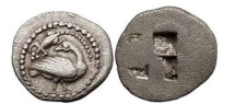 Ancient Coins - MACEDONIA: EION, c.5th Cent BC. Silver Trihemiobol. Goose, lizard above.