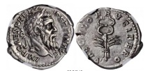 Ancient Coins - PERTINAX 193AD Silver Denarius Authentic  Caduceus SUPERB Rare