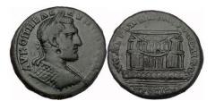 Ancient Coins - MACRINUS, Nicopolis ad Istrum, 217 AD. Beautiful Temple. Extremely Rare!