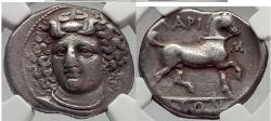 Ancient Coins - LARISSA in THESSALY 356 BC Nymph Horse Silver Stater  NGC Ch VF