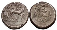 Ancient Coins - SICILY, Leontini. Silver Tetradrachm 476 B.C. Charioteer. Nike/Lion. Superb and Very Rare.