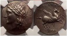 Ancient Coins - CARIA. Alabanda as Antiocheia 197BC Tetradrachm Ancient Silver Greek Coin NGC VF