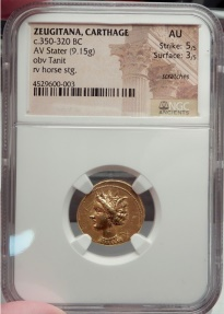 Ancient Coins - Carthage in Zeugitana 350 B.C.  Rare Ancient GOLD Greek Coin Tanit Horse NGC AU