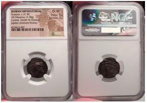 Ancient Coins - MARC ANTONY and L.Pinarius Scarpus.Silver Denraius, Cyrenaica, 31 B.C. Very Rare.