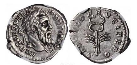 Ancient Coins - PERTINAX 193AD Silver Denarius Authentic  Caduceus SUPERB Rare
