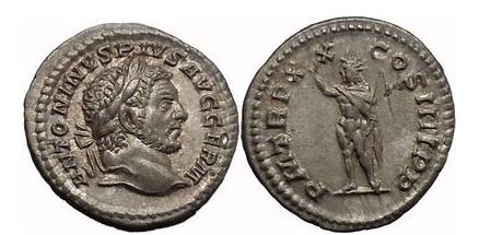 Ancient Coins - CARACALLA, Rome, 217 AD. Silver Denarius. Sol with radiate crown.
