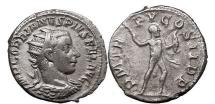 Ancient Coins - GORDIAN III, Antioch, 242 AD Silver Denarius HERCULES attacking right. Very rare.