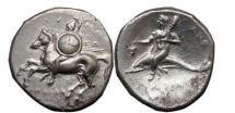 Ancient Coins - CALABRIA.TARENTUM, 281 B.C., Silver Nomos: Taras on Dolpin/Nude warrior on horse.