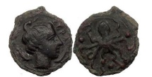 Ancient Coins - SICILY: SYRACUSE, 440 BC. Bronze Tetras. Arethusa, two dolphins. OCTOPUS.