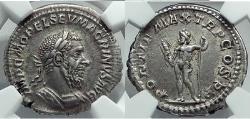 Ancient Coins - MACRINUS 217AD Silver Denarius  w JUPITER ZEUS NGC ChXF 5/5 5/5