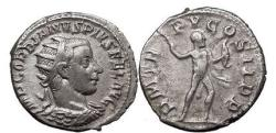 Ancient Coins - GORDIAN III, Antioch, 242 AD Silver Denarius HERCULES attacking right. Very rare.