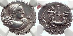 Ancient Coins - Roman Republic AMPHITRITE & NEPTUNE Ancient Silver Denarius 72BC Ch XF 4/5; 5/5