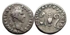 Ancient Coins - NERVA, Rome, 97 AD. Silver Denarius. Priest Implements.