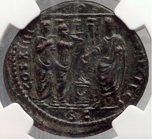 Ancient Coins - DOMITIAN in front of TEMPLE Saecular Games 88 AD Rome Ancient Roman Coin NGC AU