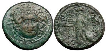 Ancient Coins - GORGON, Amphipolis, Macedonia, Bronze, 1st Cent. Athena holding Nike.