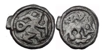 Ancient Coins - GALLIA BELGICA, Remi: 80-20 BC. Potin. Warrior/Mythical Creatures.
