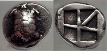 AEGINA Attica Island Greece 456 BC Land Tortoise Silver Stater