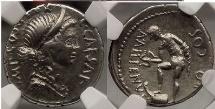 Ancient Coins - JULIUS CAESAR 47BC Silver Denarius Trinarcus NGC Certified Choice XF* 4/5 5/5