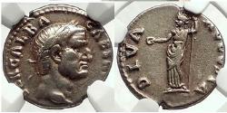 Ancient Coins - GALBA 69AD RARE  Silver Roman Denarius w Livia NGC Certified XF