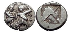 Ancient Coins - THRACO-MACEDONIAN Siris or Berge RARE Silver Stater  ITHYPHALLIC SATYR