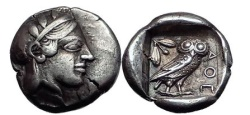 Ancient Coins - ATHENS in ATTICA Greece 448 BC Silver Drachm Athena Owl