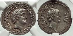 Ancient Coins - MARK ANTONY w BROTHER Lucius Antonius 41BC NGC XF 5/5 4/5