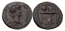 Ancient Coins - NERO, Rome, 64 A.D.  Bronze Semis. Table & Vase. Great Fire of Rome. Rare.