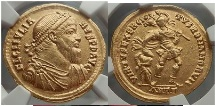 JULIAN II 361 A.D.  Pedigreed GOLD SOLIDUS NGC AU