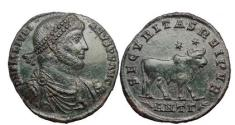 Ancient Coins - JULIAN II, the Philosopher, Antioch, 362 AD, Bronze:Julian / Bull w. two stars