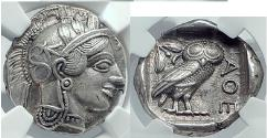 Ancient Coins - ATHENS Attica Greece 440 BC Silver  ATHENA OWL NGC Certified AU 5/5 5/5
