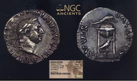 Ancient Coins - VITELLIUS, Rome, 69 AD. Silver Denarius. Dolphin, raven, tripod. Fantastic!!! NGC Choice XF. 4/5; 4/5. FINE STYLE.
