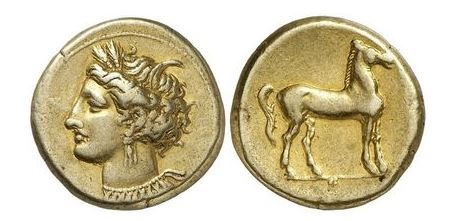 Ancient Coins - CARTHAGE ZEUGITANA. 310 BC. Electrum Stater. Tanit-Persephone, Horse. ex Jean Elsen Brussels. 1979. Superb.