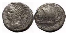 Ancient Coins - NERO, Alexandria, 66 AD. Silver Tetradrachm. Galley under sail.