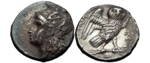 Ancient Coins - TARENTUM in CALABRIA 280 B.C.  Athena Owl Silver Drachm