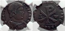 Ancient Coins - MAGNENTIUS 353 AD Large CHI-RHO Christogram Jesus Christ Symbol Roman Coin NGC AU