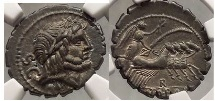 Ancient Coins - ROMAN REPUBLIC 83BC Balbus NGC Certified AU Silver Denarius Ancient Coin SUPERB