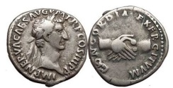Ancient Coins - NERVA, Rome, 97 AD. Silver Denarius. Clasped Hands. Rare.
